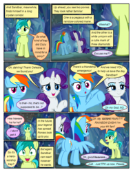 Size: 612x792 | Tagged: artist:newbiespud, bedroom eyes, comic, comic:friendship is dragons, :d, dialogue, earth pony, edit, edited screencap, female, grin, implied fluttershy, implied pinkie pie, implied twilight sparkle, male, mare, open mouth, pegasus, pony, rainbow dash, raised hoof, rarity, safe, sandbar, screencap, screencap comic, smiling, unamused, unicorn, walking, what lies beneath, wide eyes