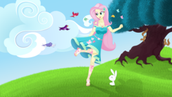 Size: 6500x3700 | Tagged: safe, artist:silvertongue, artist:xsilvertonguex, angel bunny, fluttershy, bird, squirrel, equestria girls, equestria girls series, cloud, geode of fauna, magical geodes, tree