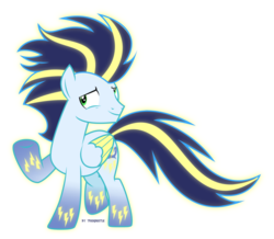 Size: 956x835 | Tagged: safe, artist:tigerbeetle, soarin', pegasus, pony, colored hooves, glowing mane, glowing tail, happy, joyful, lightly watermarked, male, rainbow power, rainbow power-ified, simple background, solo, stallion, transparent background, vector, watermark