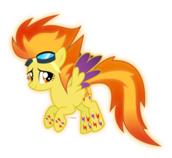 Size: 935x855 | Tagged: artist:tigerbeetle, female, floating, glowing mane, glowing tail, happy, joyful, pegasus, pony, rainbow power, rainbow power-ified, safe, simple background, solo, spitfire, transparent background, vector