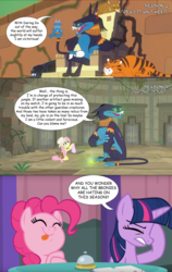 Size: 2160x3407 | Tagged: safe, edit, edited screencap, editor:wild stallions, screencap, ahuizotl, fluttershy, pinkie pie, twilight sparkle, alicorn, pony, a trivial pursuit, daring doubt, read it and weep, ahuizotl's cats, continuity error, facehoof, implied daring do, implied doctor caballeron, season 9 drama, speech bubble, tongue out, truth talisman, twilight sparkle (alicorn)
