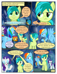 Size: 612x792 | Tagged: annoyed, artist:newbiespud, comic, comic:friendship is dragons, crossed arms, dialogue, dragon, dragoness, earth pony, edit, edited screencap, eyes closed, female, flying, frown, gallus, griffon, grin, male, pegasus, pointing, pony, raised hoof, rarity, safe, sandbar, screencap, screencap comic, smiling, smolder, unicorn, what lies beneath