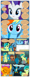 Size: 612x1553 | Tagged: ..., artist:newbiespud, bedroom eyes, bow, comic, comic:friendship is dragons, crossed arms, dialogue, dragon, dragoness, earth pony, edit, edited screencap, eyes closed, female, gallus, griffon, grin, hair bow, looking back, male, mare, pegasus, pointing, pony, raised hoof, safe, sandbar, screencap, screencap comic, smiling, smolder, surprised, unicorn, what lies beneath, yak, yona