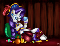 Size: 2722x2115   Tagged: safe, artist:appleneedle, rarity, pony, unicorn, my little pony: the movie, bag, clothes, coin, cute, diamonds, female, hat, high res, jewels, looking at something, mare, open mouth, pillow, pirate, pirate hat, pirate rarity, raribetes, solo