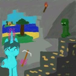 Size: 720x720 | Tagged: safe, artist:龙宠, oc, oc only, pony, cave, creeper, glowing horn, horn, magic, minecraft, pickaxe, telekinesis, unicorn oc