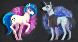 Size: 1305x705 | Tagged: abstract background, artist:zetapold, clothes, cutie mark, dj pon-3, duo, female, male, mare, necktie, neon lights, pony, raised hoof, rising star, safe, shirt, stallion, unicorn, vinyl scratch