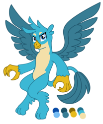 Size: 813x983   Tagged: safe, artist:chaosetmundi, gallus, griffon, flying, looking at you, male, paws, reference sheet, simple background, solo, spread wings, transparent background, wings