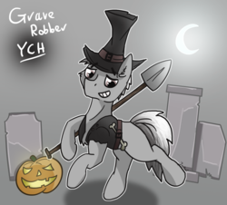 Size: 1500x1353 | Tagged: advertisement, artist:jesterpi, bone, clothes, commission, costume, grave, gravestone, graveyard, halloween, hat, holiday, moon, pony, pumpkin, safe, shovel, smiling, trotting, your character here