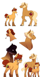 Size: 1042x1855 | Tagged: safe, artist:zetapold, oc, oc:crispin, oc:sterling, earth pony, pony, brother and sister, duo, female, glare, gritted teeth, male, muttonchops, offspring, parent:applejack, siblings, sideburns, simple background, straw in mouth, white background