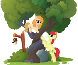 Size: 3190x2655 | Tagged: artist:teepew, artist:xcinnamon-twistx, base used, bird house, brightbutter, bright mac, cute, earth pony, female, fluffy hair, halo, hat, intertwined trees, male, pear butter, pony, rock, safe, shipping, straight, tree