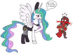 Size: 2760x2041 | Tagged: artist:supahdonarudo, blood, blushing, bowtie, bunny ears, bunnylestia, bunny suit, clothes, cuffs (clothes), dialogue, fishnets, heart, nosebleed, oc, oc:ironyoshi, princess celestia, safe, simple background, speech bubble, text, transparent background