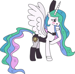 Size: 1957x1925 | Tagged: artist:supahdonarudo, blushing, bowtie, bunny ears, bunnylestia, bunny suit, clothes, cuffs (clothes), edit, leggings, princess celestia, safe, simple background, transparent background