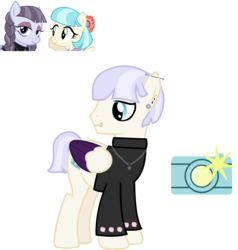 Size: 1864x1958 | Tagged: safe, artist:littlejurnalina, coco pommel, inky rose, oc, oc:snap shot (goth), earth pony, pegasus, pony, ice angel's moonlight au, clothes, dress, ear piercing, earring, eyeshadow, family, female, inkypommel, jewelry, lesbian, lip piercing, magical lesbian spawn, makeup, male, mare, mother and son, necklace, offspring, parent:coco pommel, parent:inky rose, parents:inkypommel, piercing, shipping, simple background, stallion, sweater, transparent background