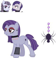Size: 1664x1731 | Tagged: safe, artist:littlejurnalina, funnel web, inky rose, oc, oc:amethyst silk, earth pony, pegasus, pony, ice angel's moonlight au, anklet, choker, clothes, dress, ear piercing, earring, eyeshadow, female, inkyweb, jewelry, makeup, male, mare, mascara, offspring, open mouth, parent:funnel web, parent:inky rose, parents:inkyweb, piercing, shipping, simple background, spiked choker, stallion, straight, transparent background
