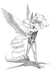 Size: 1100x1421   Tagged: safe, artist:baron engel, princess celestia, alicorn, anthro, unguligrade anthro, armpits, bowtie, breasts, bunny ears, bunny suit, bunnylestia, busty princess celestia, cleavage, clothes, colored hooves, cutie mark, female, gloves, grayscale, hoof shoes, leggings, leotard, mare, monochrome, pencil drawing, simple background, solo, spread wings, stupid sexy celestia, traditional art, white background, wings