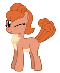 Size: 1317x1590 | Tagged: safe, artist:andrevus, oc, oc only, oc:vulpenia, pony, vulpix, chest fluff, crossover, one eye closed, pokémon, ponified, simple background, solo, transparent background