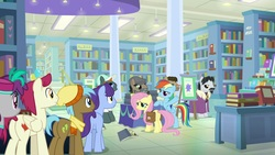 Size: 1920x1080 | Tagged: safe, screencap, doctor caballeron, fluttershy, neigh sayer, november rain, pinot noir, rainbow dash, shiraz, silver berry, sugar maple, pony, daring doubt, book, bookshelf, friendship student, groom q.q. martingale