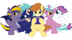 Size: 1192x670 | Tagged: artist:showtimeandcoal, bat pony, bronycon, bronycon mascots, commission, con mascots, convention, convention mascots, digital art, earth pony, mascot, mascots, oc, oc:blank canvas, oc:blazing star, oc:hoof beatz, oc:mane event, oc only, oc:tech, oc:techmagic, pegasus, pony, safe, simple background, transparent background, unicorn, vector