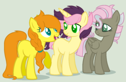 Size: 1023x669 | Tagged: artist:justanotherfan-trash, earth pony, female, green background, half-siblings, mare, oc, oc:golden butterfly, oc only, oc:sweet feather, oc:writter, offspring, parent:big macintosh, parent:fluttershy, parents:fluttermac, parents:flutterscript, parents:thundershy, parent:thunderlane, parent:written script, pegasus, pony, safe, siblings, simple background, sisters, trio, unicorn