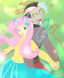 Size: 1280x1536 | Tagged: artist:perfectshadow06, back to back, cute, discord, discoshy, equestria girls, equestria girls-ified, female, fluttershy, heart, holding hands, male, open mouth, ponied up, safe, shipping, straight