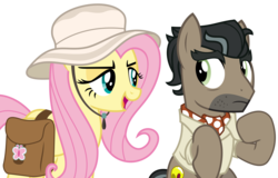 Size: 6833x4363 | Tagged: safe, artist:sketchmcreations, doctor caballeron, fluttershy, earth pony, pegasus, pony, daring doubt, spoiler:s09e21, female, hat, looking at each other, male, mare, saddle bag, simple background, sitting, stallion, transparent background, vector
