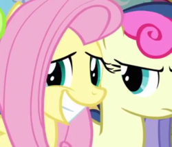 Size: 781x666 | Tagged: bon bon, bon bon is not amused, cropped, cute, fluttershy, grin, looking at you, putting your hoof down, safe, screencap, shyabetes, smiling, stare, sweetie drops, unamused