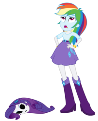 Size: 1323x1631 | Tagged: bodysuit, disguise, disgusted, edit, equestria girls, impersonating, mask, masking, poor rainbow dash, rainbow dash, rarity, safe