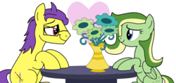 Size: 1280x605 | Tagged: artist:didgereethebrony, base used, cutie mark, doomerang, earth pony, flower, glasses, heart, love struck, oc, oc:boomerang beauty, oc:doodley, oc x oc, pegasus, pony, safe, shipping, simple background, table, trace, transparent background, vase