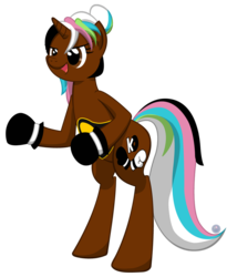 Size: 809x987 | Tagged: artist:template93, boxing, boxing glove, boxing gloves, championship belt, oc, oc:neggy, pony, ponytail, safe, sports