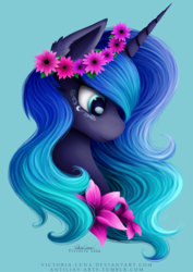 Size: 3507x4960 | Tagged: safe, artist:victoria-luna, princess luna, alicorn, pony, blue background, bust, cute, ear fluff, female, floral head wreath, flower, flower in hair, flower necklace, lunabetes, mare, portrait, profile, simple background, smiling, solo