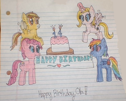 Size: 706x569 | Tagged: 14, alicorn, alicorn oc, artist:nightshadowmlp, birthday, cake, earth pony, evil pie hater dash, female, food, glowing horn, horn, lined paper, mare, oc, oc:caramel swirl, oc:ola tiger, pegasus, pinkiehater, pinkie pie, rainbow dash, safe, secrets and pies, text, tigerswirl, traditional art