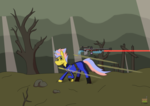 Size: 1280x903   Tagged: safe, artist:vol_audacity, oc, oc only, oc:full fury, pony, unicorn, fallout equestria, bullet, cel shading, clothes, dead tree, energy weapon, glowing horn, gun, hooves, horn, jumpsuit, laser, laser rifle, laser sniper rifle, levitation, magic, magical energy weapon, optical sight, rifle, shading, sniper rifle, solo, telekinesis, tree, wasteland, weapon