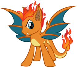 Size: 3246x2824 | Tagged: safe, artist:benybing, charizard, dracony, hybrid, pony, crossover, fire, looking at you, mane of fire, pokémon, ponified, simple background, solo, spread wings, transparent background, wings