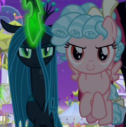 Size: 714x720 | Tagged: changeling, cozy glow, cropped, glowing horn, horn, legion of doom, looking at you, pegasus, pony, queen chrysalis, safe, screencap, spoiler:s09e17, the summer sun setback