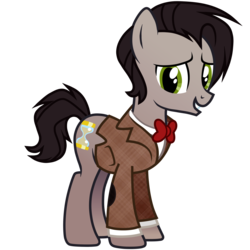 Size: 3000x3000 | Tagged: safe, artist:theodoresfan, doctor whooves, time turner, pony, crossover, doctor who, eleventh doctor, ponified, simple background, solo, transparent background
