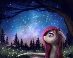 Size: 2500x1980 | Tagged: artist:thatdreamerarts, bust, firefly (insect), floppy ears, fluttershy, forest, looking away, looking up, night, nightfall, outdoors, pegasus, pony, profile, safe, scenery, shooting star, sky, solo, spread wings, starry night, stars, stray strand, tree, wings