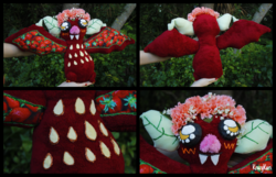 Size: 3264x2097 | Tagged: floral head wreath, flower, food, for sale, fruit bat, irl, photo, plushie, safe, smiling, strawberry