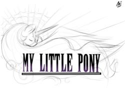 Size: 2000x1600 | Tagged: safe, artist:aer0 zer0, princess celestia, pony, final fantasy, grayscale, monochrome, parody
