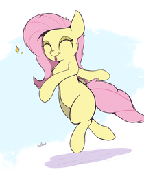 Size: 2100x2500 | Tagged: safe, artist:rainyvisualz, fluttershy, pony, :p, bipedal, chest fluff, cute, eyes closed, leg fluff, missing cutie mark, shyabetes, simple background, smiling, solo, three quarter view, tongue out, white background, wingless