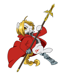 Size: 1500x1500   Tagged: safe, artist:madmax, pony, amputee, commission, crossover, edward elric, fullmetal alchemist, ponified, prosthetic limb, prosthetics, simple background, white background