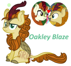 Size: 927x862 | Tagged: artist:superrosey16, autumn afternoon, autumn blaze, kirin, oc, oc:oakley blaze, offspring, parent:autumn afternoon, parent:autumn blaze, safe, simple background, transparent background