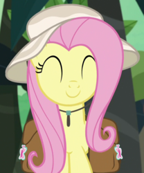 Size: 644x774 | Tagged: safe, screencap, fluttershy, pegasus, pony, daring doubt, cropped, cute, eyes closed, female, hat, mare, saddle bag, shyabetes, smiling, solo