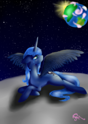Size: 2480x3496 | Tagged: alicorn, artist:moon-wing, crying, equestria, female, looking back, lying down, mare, on the moon, planet, princess luna, safe, solo