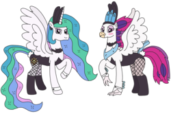 Size: 3185x2112 | Tagged: alicorn, artist:supahdonarudo, blushing, bowtie, bunnovo, bunny ears, bunnylestia, bunny suit, classical hippogriff, clothes, cuffs (clothes), fishnets, hippogriff, my little pony: the movie, princess celestia, queen novo, raised hoof, safe, simple background, transparent background