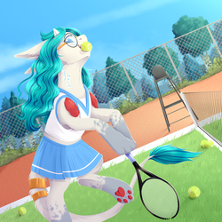 Size: 3000x3000 | Tagged: anime, artist:djkaskan, clothes, glasses, leonine tail, long ears, mouth hold, oc, oc only, original species, paw pads, paws, pleated skirt, pony, safe, skirt, solo, sports, tennis, tennis ball, tennis racket