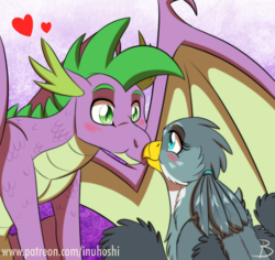 Size: 1200x1134 | Tagged: safe, artist:inuhoshi-to-darkpen, gabby, spike, dragon, griffon, blushing, boop, chest fluff, digital art, eye contact, female, heart, looking at each other, male, noseboop, older, older spike, shipping, smiling, spabby, straight, winged spike