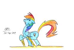 Size: 2472x1704   Tagged: safe, artist:gafelpoez, rainbow dash, pegasus, pony, cheese, food, gritted teeth, solo, stuck