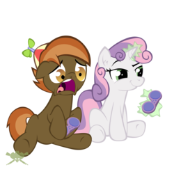 Size: 2500x2500 | Tagged: artist:bigrodeo, artist:spoonzebra, button mash, controller, cute, earth pony, game controller, magic, pony, safe, simple background, smiling, smirk, sweetie belle, transparent background, unicorn, video game