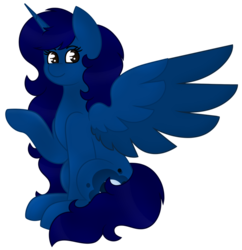 Size: 879x909 | Tagged: alicorn, alicorn oc, artist:midnightamber, critique requested, gradient eyes, long hair, long mane, long tail, oc, oc:midnight, pony, raised hoof, safe, shading, shading practice, simple background, sitting, smiling, solo, transparent background, wing open, wing out