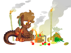 Size: 1032x774 | Tagged: aquatic, artist:bigrodeo, bluean, fruit, oc, pony, safe, solo, tattoo, torch, volcano